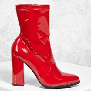 Red Faux Leather Heeled Boots